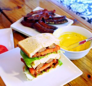 BLT Sandwich with Andouille Sausage and Lick the Bowl Sauce-Creole Contessa