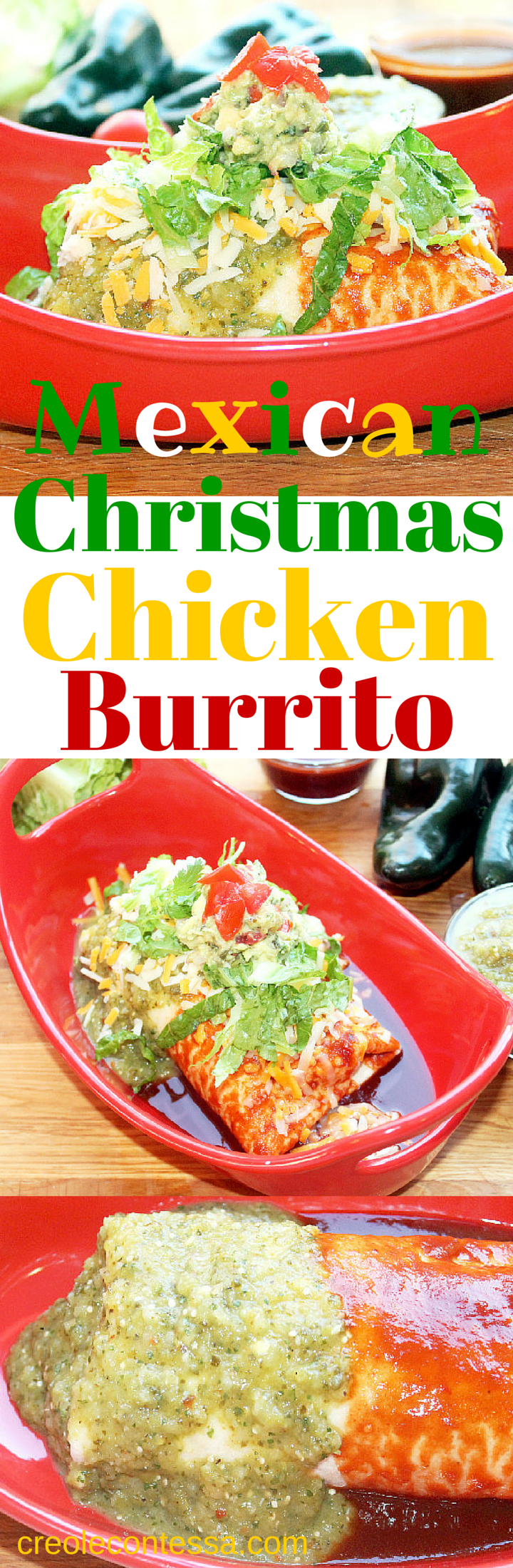 Mexican Christmas Food.Mexican Christmas Chicken Burrito