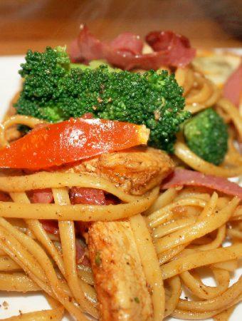 Pork Pasta with Chicken & Broccoli