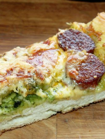 Sicilian Style Pizza with Smokey Pesto Andouille and Salami