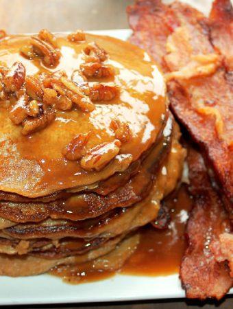Sweet Potato Pie Pancakes with Pecan Praline Syrup