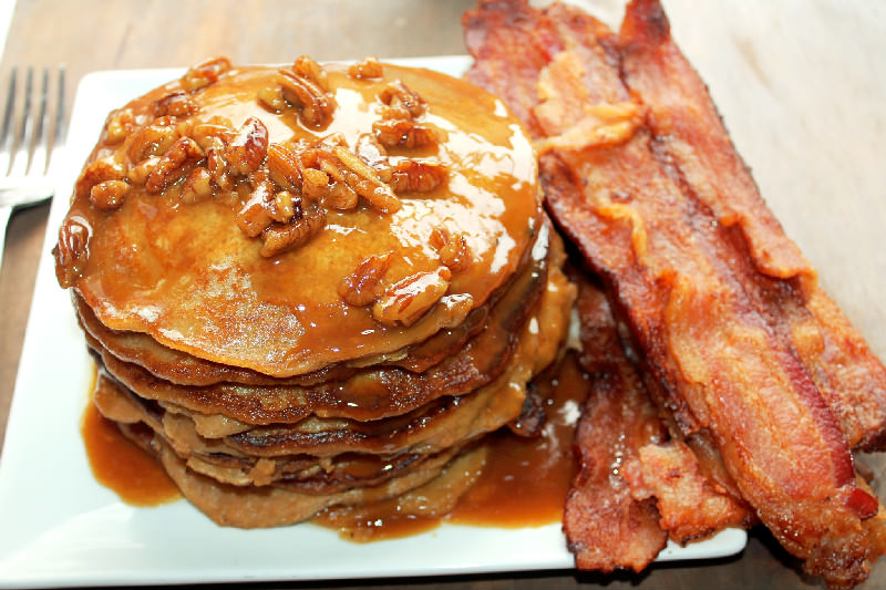 Sweet Potato Pie Pancakes with Pecan Praline Syrup