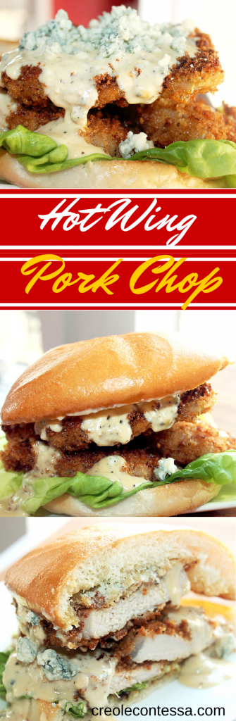 Hot Wing Pork Chops with Spicy Blue Cheese Cream Sauce-Creole Contessa
