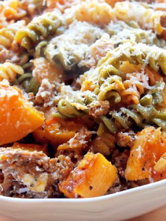 Roasted Butternut Squash Pasta with Andouille Sausage