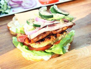 California Club Sandwich with Greek Chicken and Feta Mayonnaise-Creole Contessa