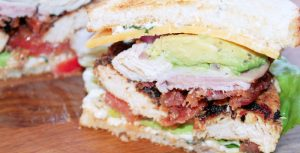 California Club Sandwich with Greek Chicken and Feta Mayonnaise-Creole Contessa