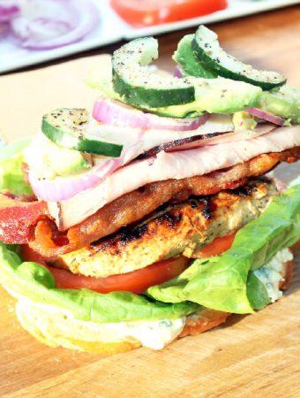 California Club Sandwich with Greek Chicken and Feta Mayo