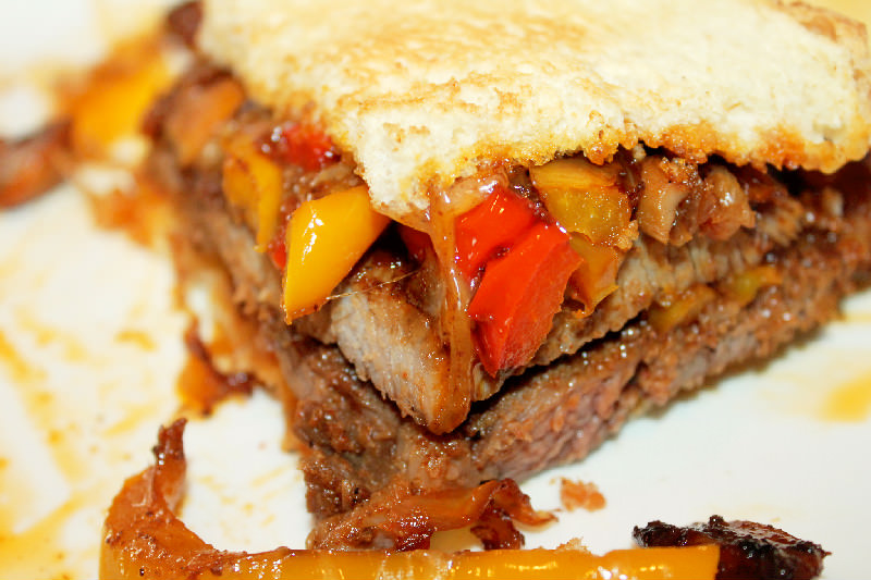 Steak Fajita Sandwich with Caramelized Onions, Mushrooms, and Peppers