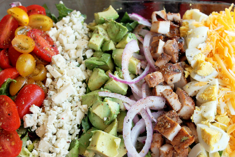 Grilled Chicken Cobb Salad with Strawberry Vinaigrette-Creole Contessa