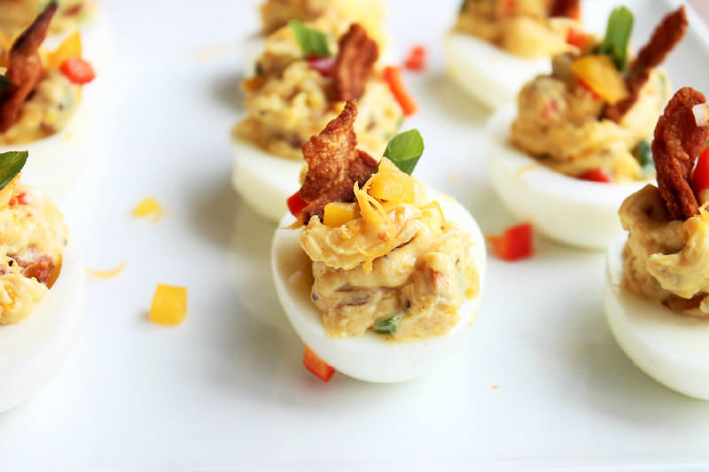 Bacon and Cheese Deviled Eggs - Creole Contessa