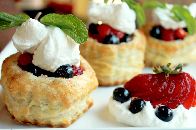 Fruit Salad in a Basket with Homemade Vanilla Whipped Cream and Berry Sauce-Creole Contessa