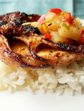 Grilled Pork Cutlets with Pineapple Mango Salsa