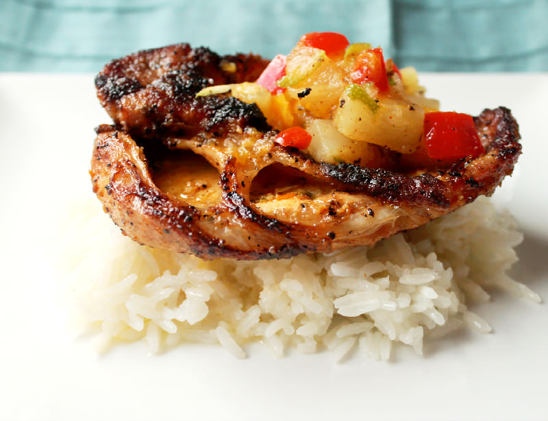 Grilled Pork Cutlets With Pineapple Mango Salsa Creole
