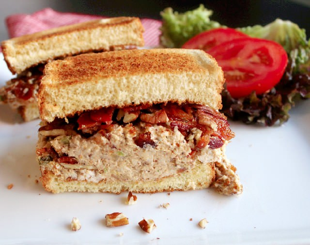 Bacon Chicken Salad Sandwich with Pecans
