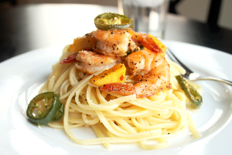 Roasted Shrimp with Jalapenos Mango and Linguine-Creole Contessa