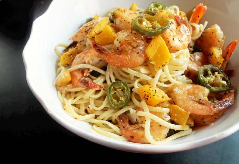 Roasted Shrimp with Jalapenos Mango and Linguine-Creole Contessa