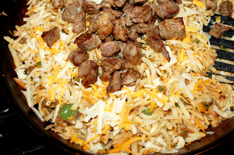 Steak and Hash Brown Casserole with Bacon-Creole Contessa