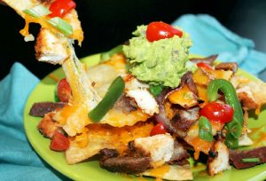 Fajita Nachos with Grilled Steak and Chicken-Creole Contessa