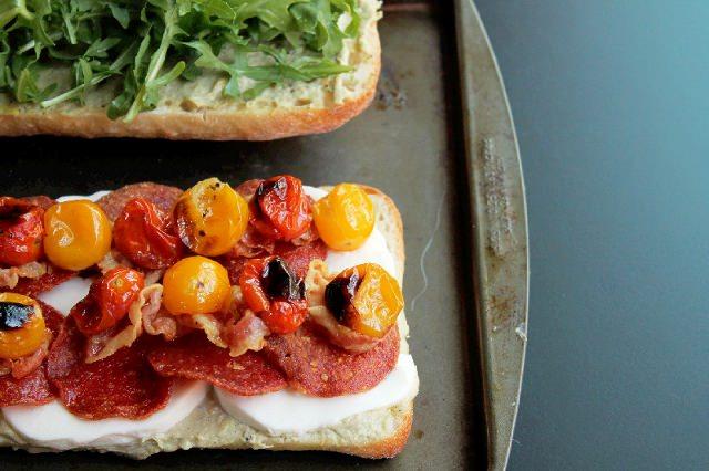 Roasted Tomato Mozzarella Sandwich with Pancetta -Creole Contessa