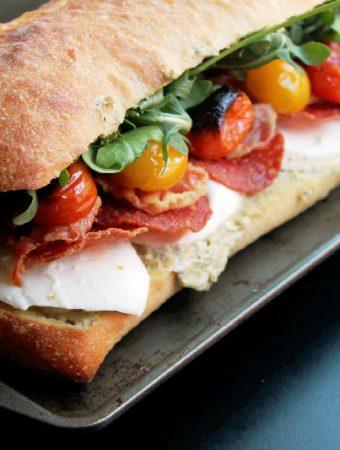 Roasted Tomato Mozzarella Sandwich with Pancetta