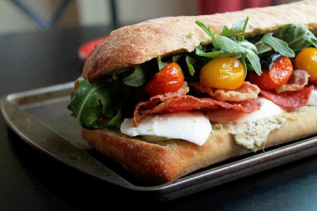 Roasted Tomato Mozzarella Sandwich with Pancetta-Creole Contessa