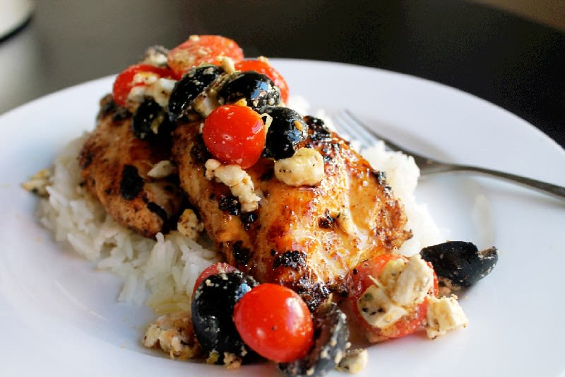 Greek Chicken with Feta Olives and Tomatoes-Creole Contessa