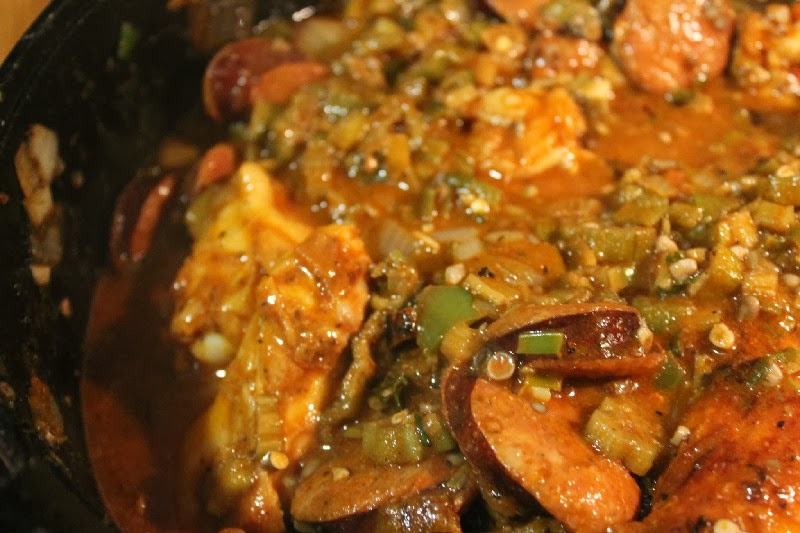Smothered Chicken And Shrimp With Sausage And Okra