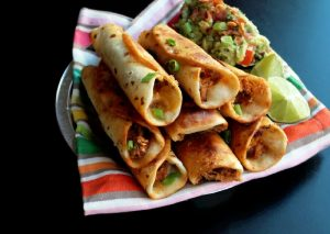 Chicken Flautas with Bacon Guacamole-Creole Contessa