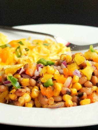 Black Eyed Peas Hash with Sauteed Corn, Peppers, and Scrambled Eggs