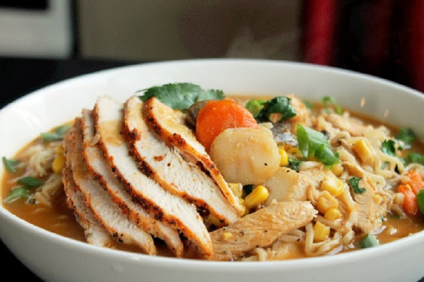 Roasted Chicken Ramen Noodle Soup