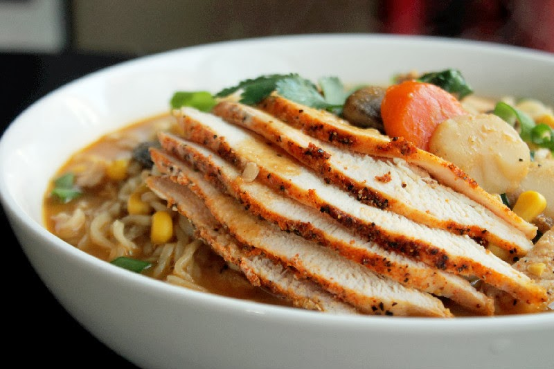 Roasted Chicken Ramen Noodle Soup