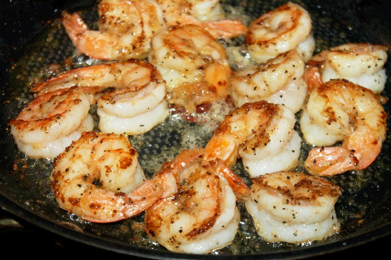 While the broccoli steamed, in another pan I sauteed shrimp in olive ...