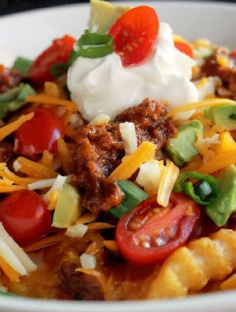 Slow Cooker Chili Cheese Fries