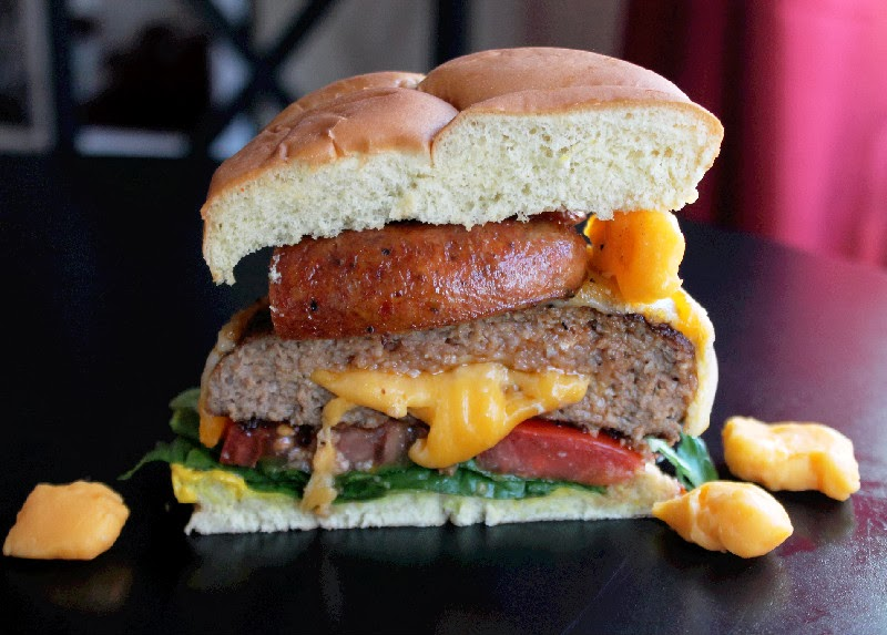 Cheese Curd Stuffed Burger with Turkey Sausage -Creole Contessa