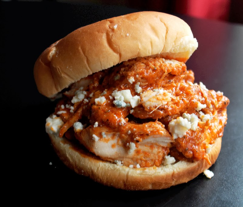 Slow Cooker Pulled Buffalo Chicken Sandwiches - Creole Contessa