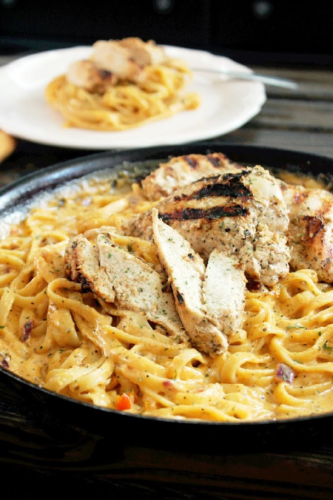 Grilled Greek Chicken Alfredo-Creole Contessa