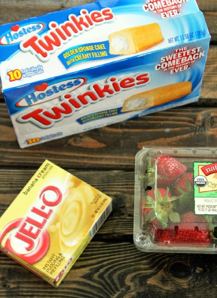 No Bake Strawberry Banana Pudding Twinkies Cake