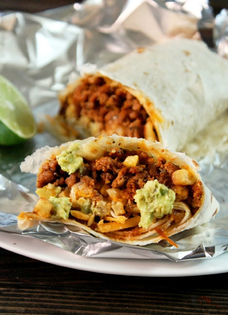 Burritos California Style, Loaded with Cheese, French Fries, & Guacamole-Creole Contessa