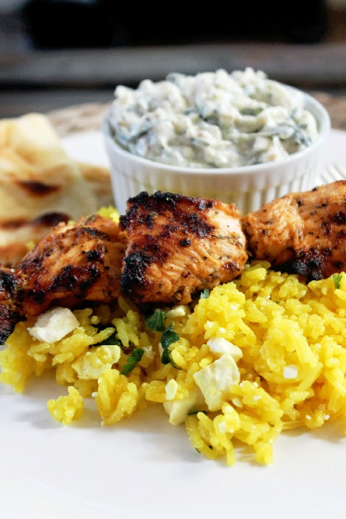 Chicken Kabobs Greek Style with Feta Rice & Tzatziki-Creole Contessa