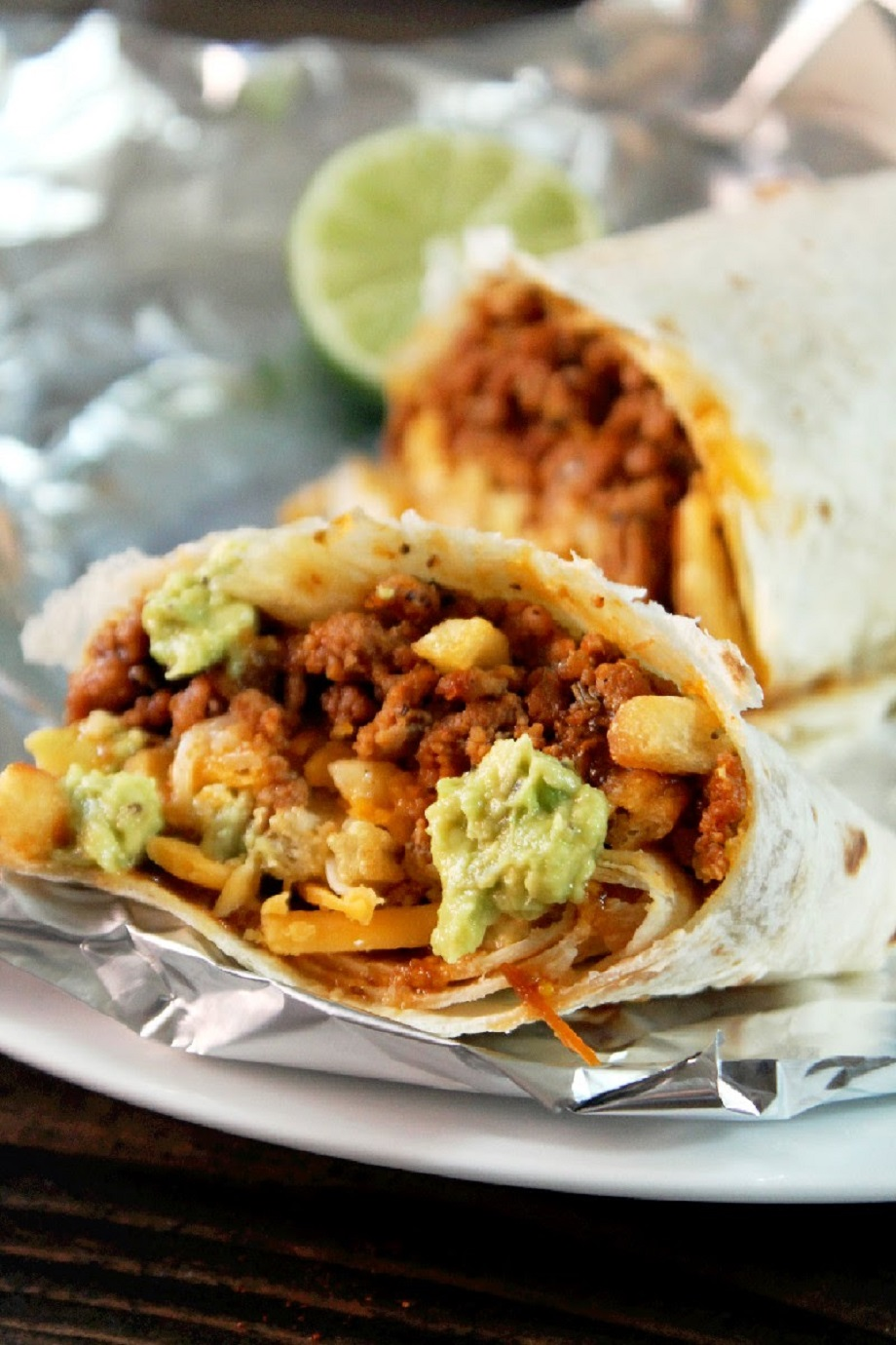 Burritos California Style, Loaded with Cheese, French Fries, & Guacamole