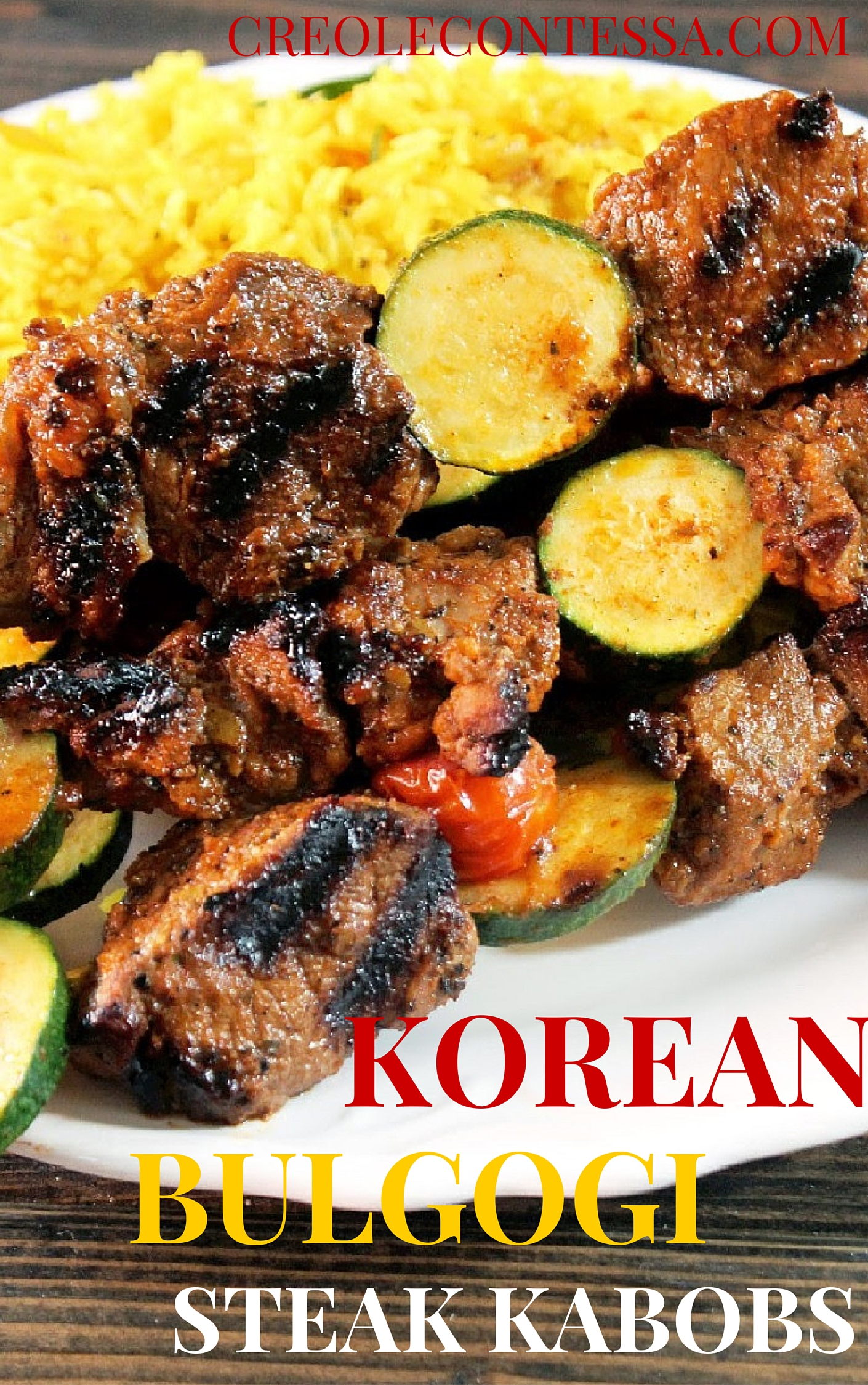 Korean Bulgogi Grilled Steak Kabobs with Yellow Rice Pilaf-Creole Contessa