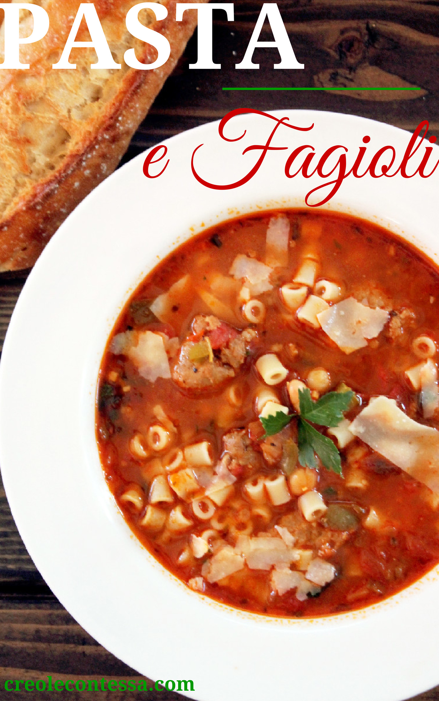 30 minutes, the soup is all ready to eat. I served my Pasta e Fagioli ...