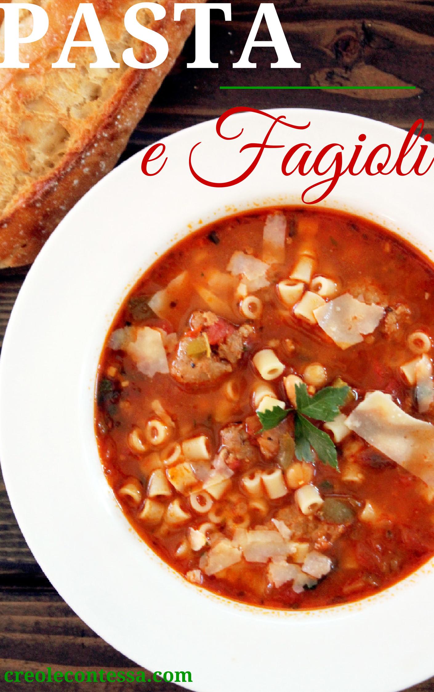 Pasta e Fagioli Soup with Italian Sausage-Creole Contessa