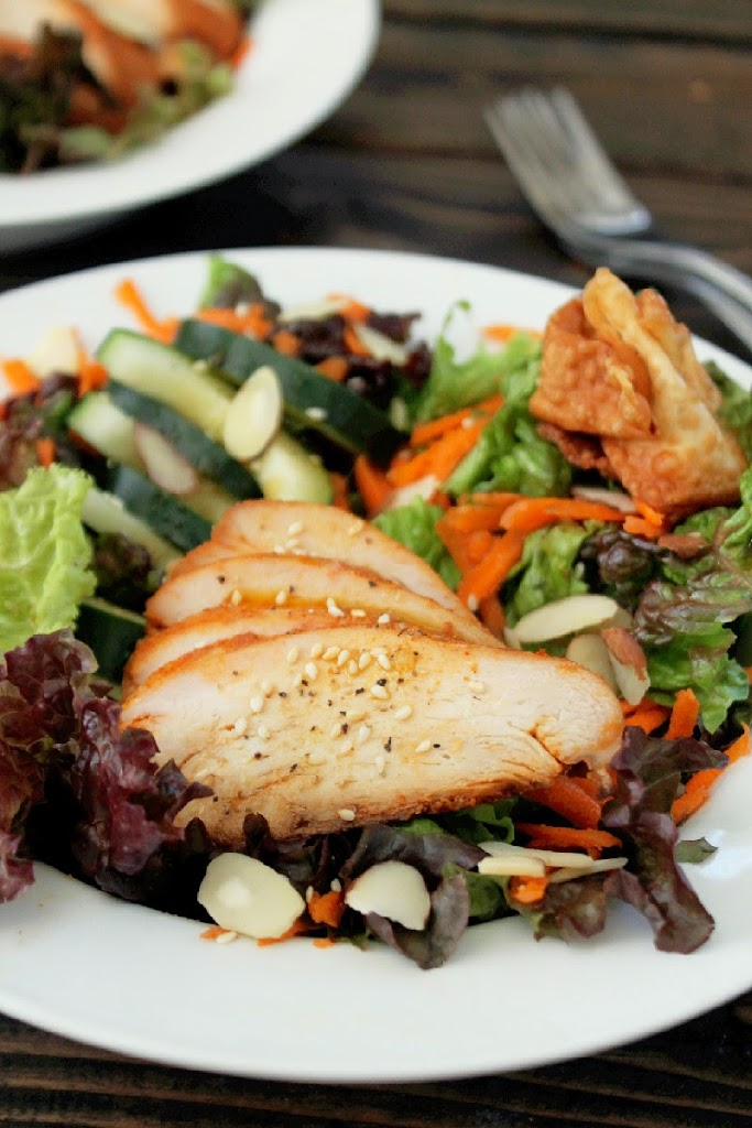 Chinese Chicken Salad with Wonton Croutons-Creole Contessa