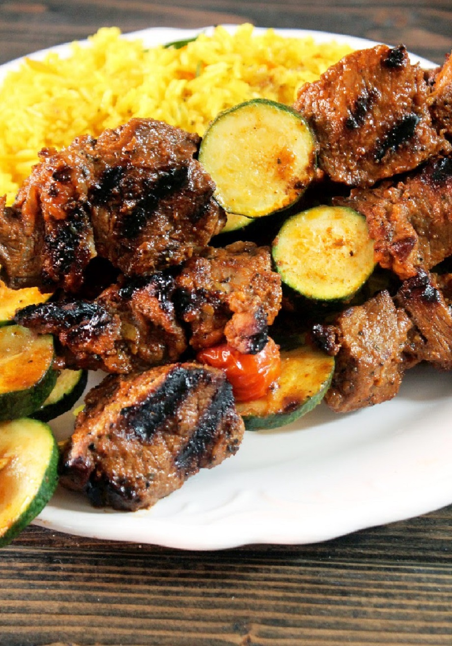 Korean Bulgogi Grilled Steak Kabobs with Yellow Rice Pilaf