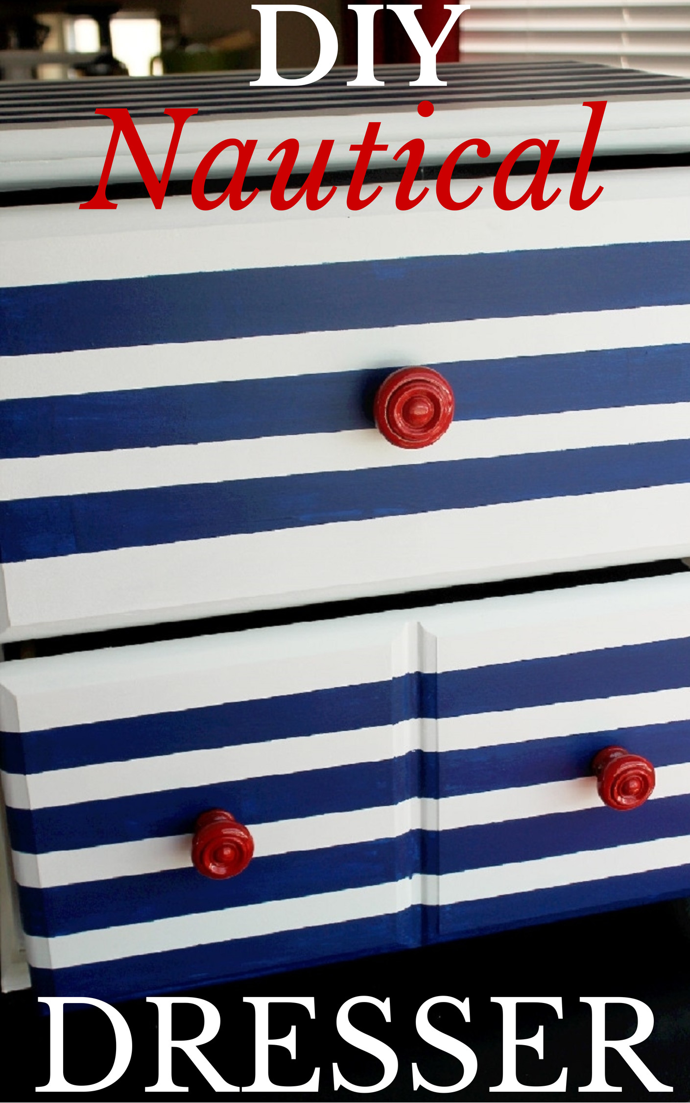 DIY Nautical Striped Dresser-Creole Contessa