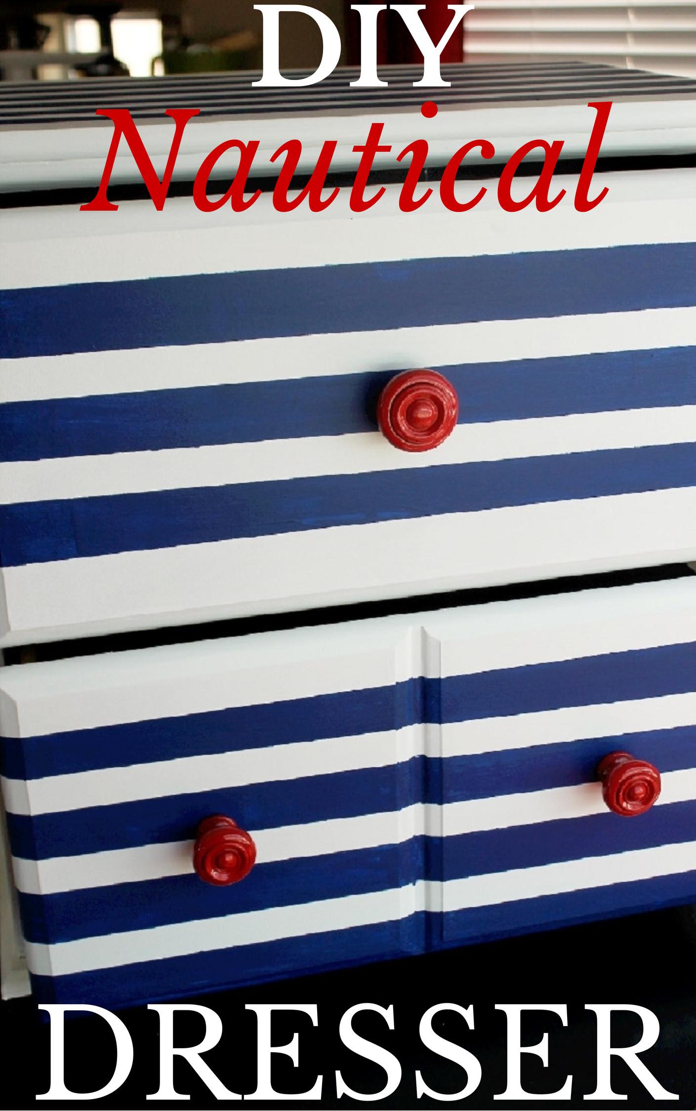 DIY Nautical Striped Dresser-Creole Contessa