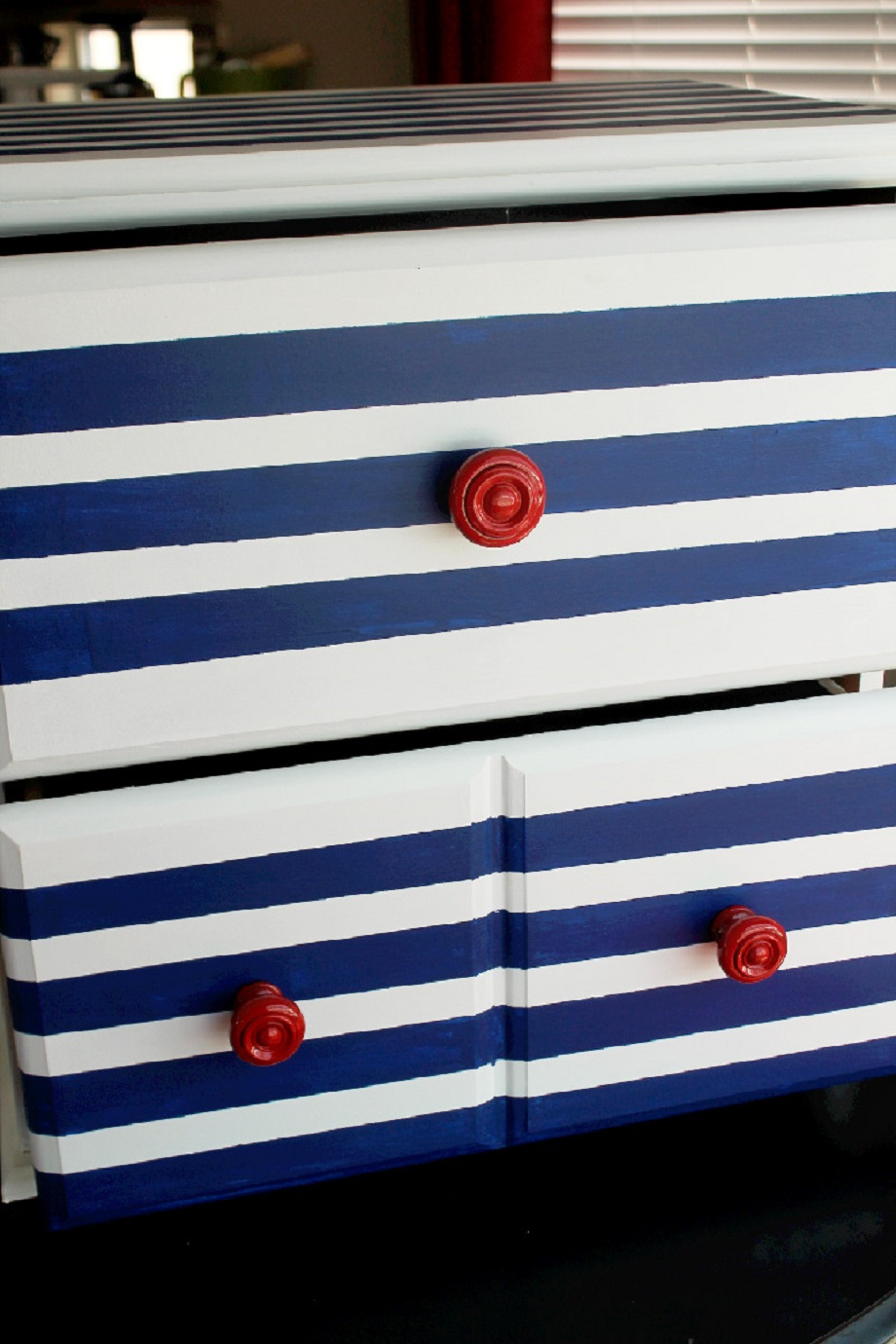 DIY Striped Dresser