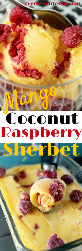 Mango Coconut Sherbet with Raspberries-Creole Contessa