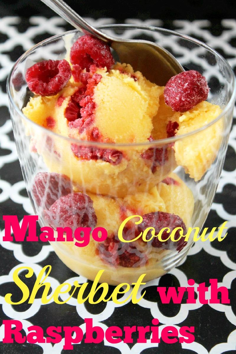 Mango Coconut Sherbet with Raspberries-Creole Contessa